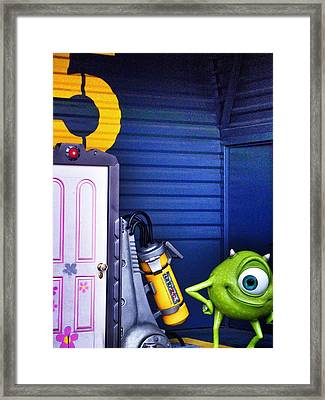 Mike With Boo's Door - Monsters Inc. In Disneyland Paris Framed Print by Marianna Mills