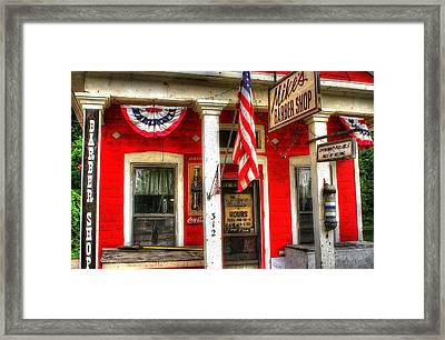 Mike's Barber Shop Framed Print