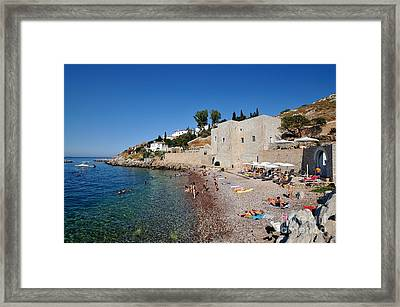Mikro Kamini Beach Framed Print by George Atsametakis