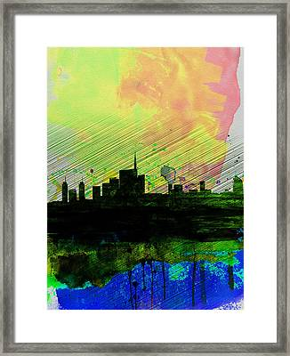 Milan Watercolor Skyline 2 Framed Print by Naxart Studio