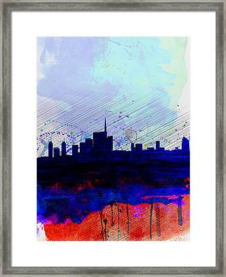 Milan Watercolor Skyline Framed Print by Naxart Studio