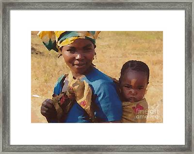 Milawi Mother And Child Framed Print by Joyce Gebauer
