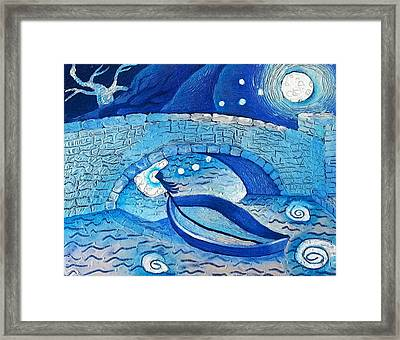 Mild Night Winds Blowing A Wish Under A Bridge Framed Print