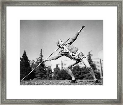 Mildred Babe Didrikson Holding A Javelin Framed Print