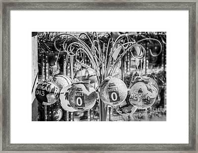 Mile Marker 0 Christmas Decorations Key West 2 - Black And White Framed Print