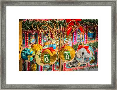 Mile Marker 0 Christmas Decorations Key West 2 - Hdr Style Framed Print