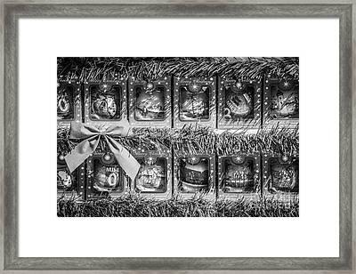Mile Marker 0 Christmas Decorations Key West 4 - Black And White Framed Print