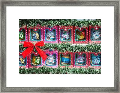 Mile Marker 0 Christmas Decorations Key West 4  Framed Print
