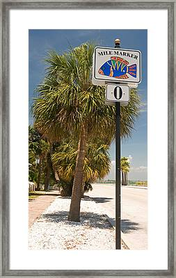 Mile Marker Zero At Pass-a-grille, St Framed Print