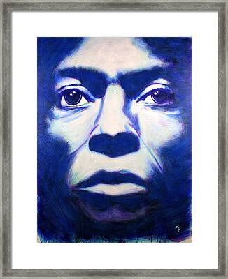 Framed Print featuring the painting Miles Davis Tutu Album Cover by Bob Baker