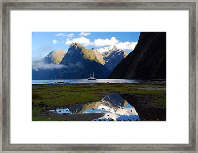 Framed Print featuring the photograph Milford Sound by Cascade Colors