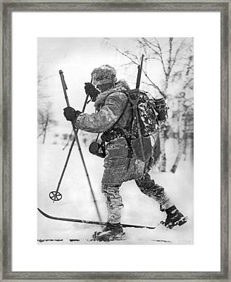 Military Cross Country Skiing Framed Print by Underwood Archives
