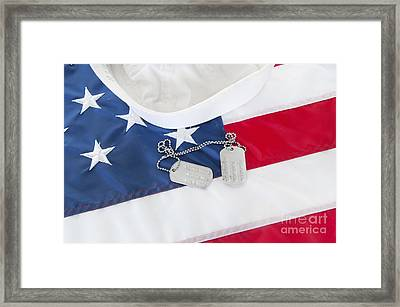 Military Dog Tags On Flag Framed Print