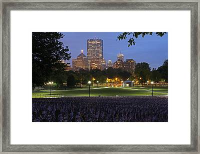 Military Heroes Garden Of American Flags In The Boston Common Framed Print by Juergen Roth