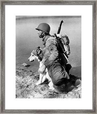 Military Soldier And Dog Vintage  Framed Print by Retro Images Archive