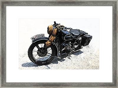 Military Style Bmw Motorcycle Framed Print
