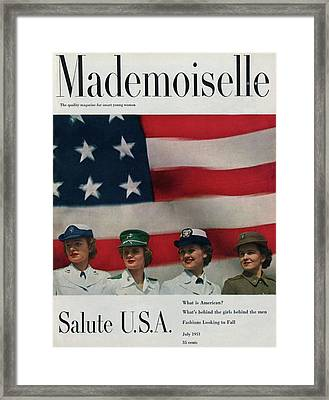 Military Women In Front Of A Us Flag Framed Print by Herman Landshoff