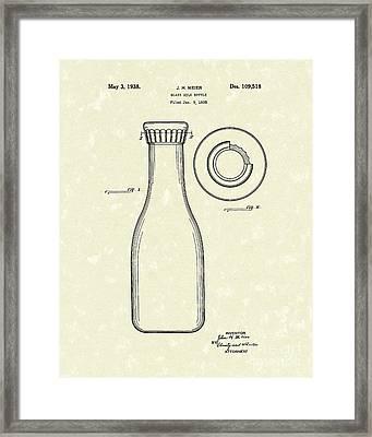 Milk Bottle 1938 Patent Art Framed Print by Prior Art Design