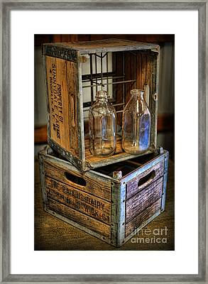 Milk Bottles And Crates Framed Print by Lee Dos Santos