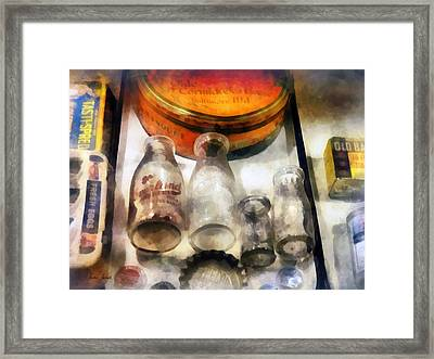 Milk Bottles In Dairy Case Framed Print