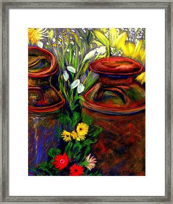 Milk Cans At Flower Show Sold Framed Print