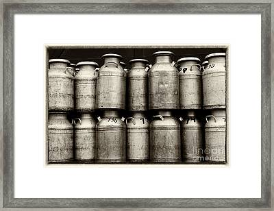 Milk Containers Sepia Framed Print by Iris Richardson