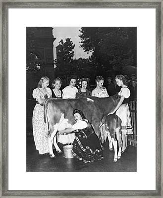 Milk For Spanish Loyalists Framed Print by Underwood Archives