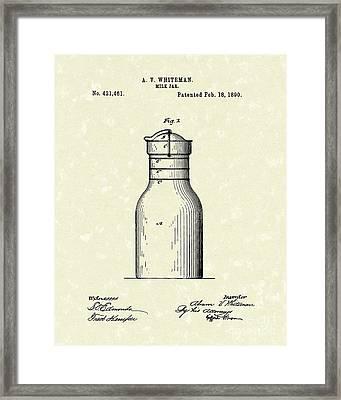 Milk Jar 1890 Patent Art Framed Print by Prior Art Design