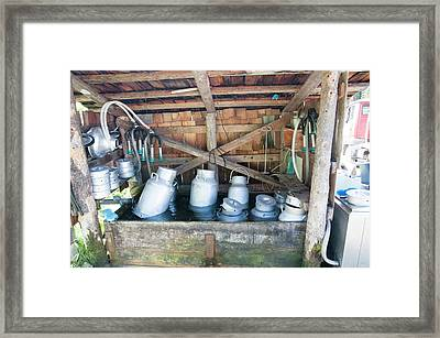 Milk Urns Cooling In Spring Water Framed Print by Photostock-israel