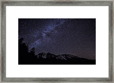 Milky Way Above Snow Capped Mountains Framed Print by Brad Scott