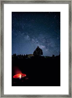 Milky Way And Campfire Framed Print by Melany Sarafis