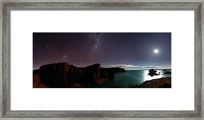Milky Way And Moon Over Reservoir Framed Print by Luis Argerich