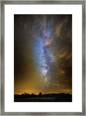 Milky Way And Perseid Meteor Trail Framed Print by Chris Madeley