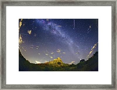 Milky Way And Perseids Meteor Shower Framed Print