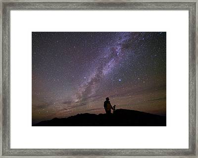 Milky Way And Photographer Framed Print by Babak Tafreshi