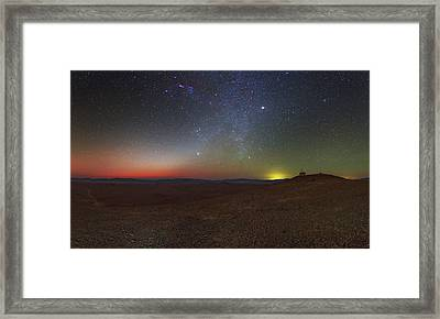 Milky Way And Zodiacal Light At Dusk Framed Print by Babak Tafreshi