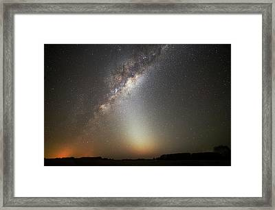 Milky Way And Zodiacal Light Framed Print by Luis Argerich