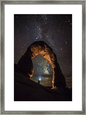 Milky Way Illumination At Delicate Arch Framed Print by Mike Berenson