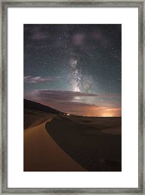 Milky Way Nightscape From Great Sand Dunes National Park Framed Print by Mike Berenson