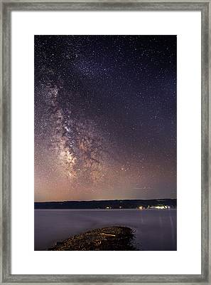 Milky Way On Cayuga Lake Ithaca New York Framed Print by Paul Ge