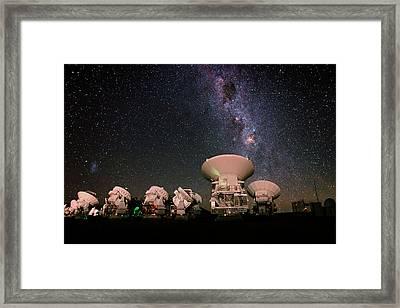 Milky Way Over Alma Telescopes Framed Print by Babak Tafreshi