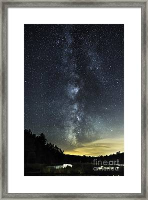 Milky Way Over Beaver Pond In Phippsburg Maine 2 Framed Print
