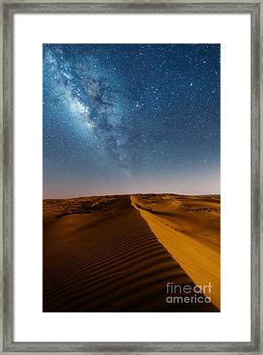 Milky Way Over Desert Dunes Framed Print