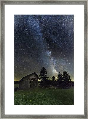 Milky Way Over Foster Covered Bridge Framed Print