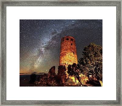 Milky Way Over Grand Canyon Watchtower Framed Print by Babak Tafreshi