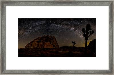 Milky Way Over Joshua Tree Framed Print by Peter Tellone