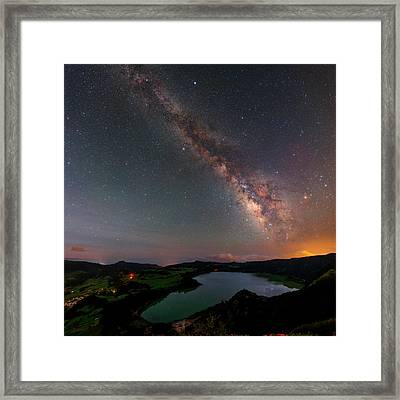 Milky Way Over Lagoa Das Furnas Framed Print by Babak Tafreshi