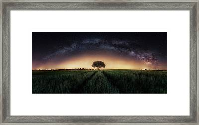 Milky Way Over Lonely Tree Framed Print