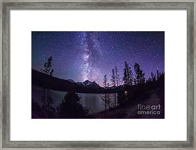 Milky Way Over Mc Gowan Peak At Stanley Lake Idaho Framed Print