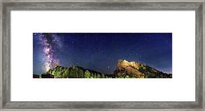 Milky Way Over Mount Rushmore Framed Print